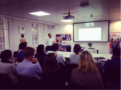 In London presenting research findings on Syrian refugee crisis at MSF's European Operations Meeting